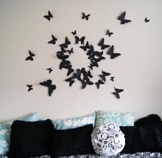 Дизайн стены из бабочек